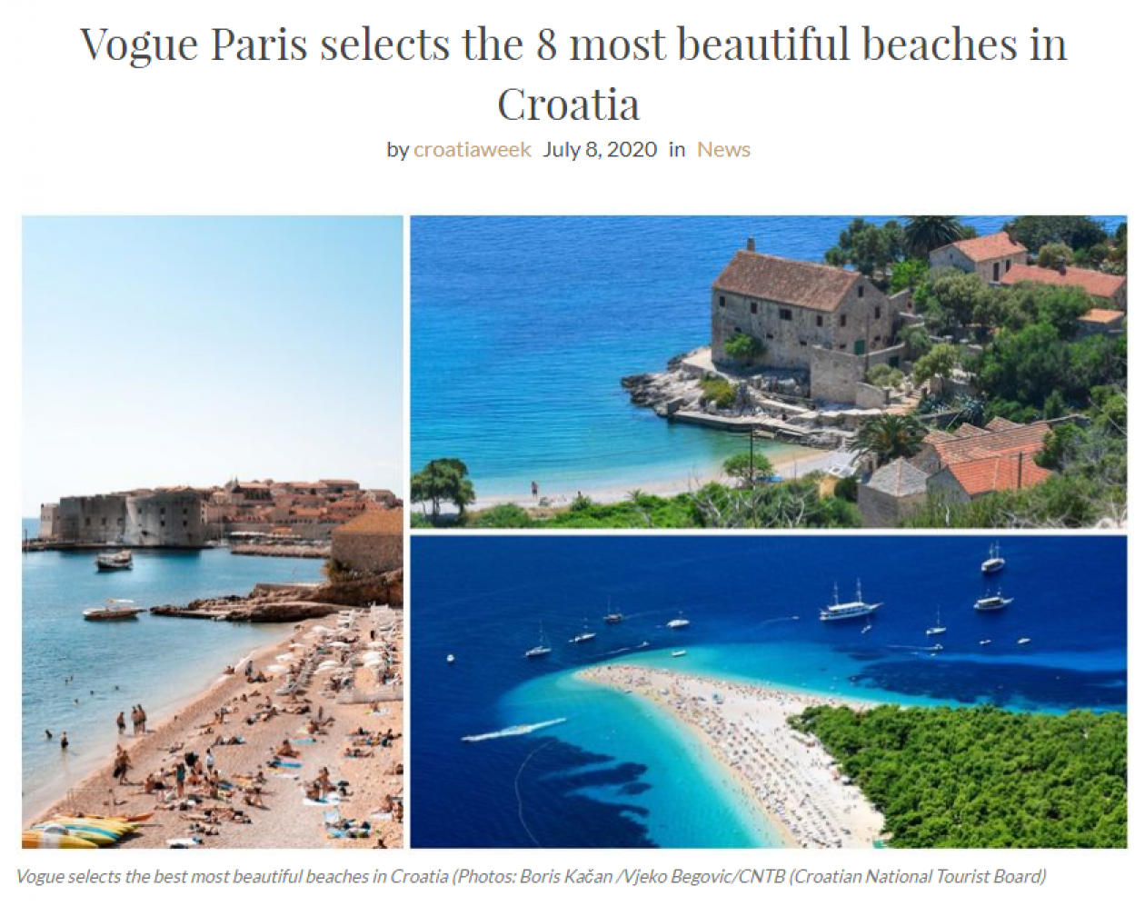 Vogue Paris selects the 8 most beautiful beaches in Croatia
